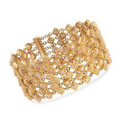 6.16 ct. t.w. Round and Square-Styled Wide Diamond Bracelet in 18kt Yellow Gold, , default