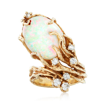 C. 1970 Vintage Opal and .45 ct. t.w. Diamond Tree Root-Motif Ring in 14kt Yellow Gold, , default