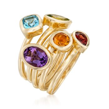 2.80 ct. t.w. Multi-Stone Jewelry Set: Five Rings in 14kt Gold Over Sterling Silver, , default