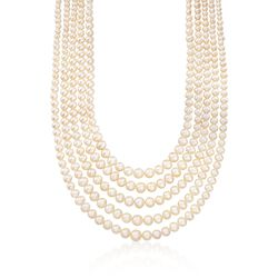 "4-8.5mm Cultured Pearl Five-Strand Layered Necklace With Sterling Silver. 16"", , default"