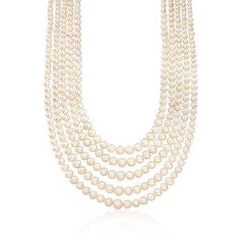 """4-8.5mm Cultured Pearl Five-Strand Layered Necklace With Sterling Silver. 16"""", , default"""