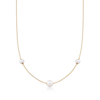 Mikimoto 5.5.-7.5mm A+ Akoya Pearl Necklace in 18kt Yellow Gold , , default