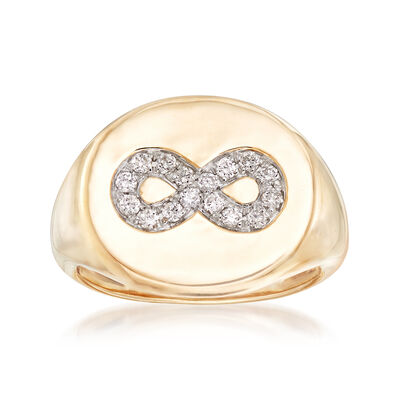 .15 ct. t.w. Diamond Infinity Symbol Signet Ring in 14kt Yellow , , default