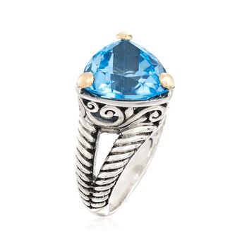 12.00 Carat Blue Topaz Twisted Ring in Sterling Silver and 18kt Yellow Gold, , default