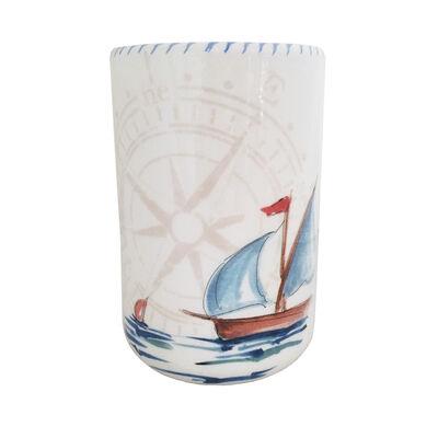 Abbiamo Tutto Italian Sailboat Ceramic Wine Bottle/Kitchen Utensil Holder