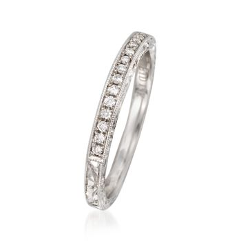 .11 ct. t.w. Diamond Engraved Wedding Ring in 14kt White Gold, , default