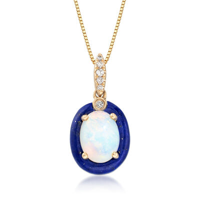 Opal and Lapis Pendant Necklace in 14kt Yellow Gold with Diamond Accents, , default