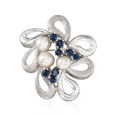 C. 1970 Vintage Cultured Pearl and .65 ct. t.w. Sapphire Swirl Pin in 14kt White Gold, , default