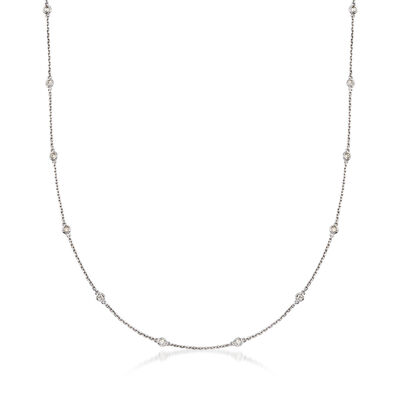 .50 ct. t.w. Bezel-Set Diamond Station Necklace in Sterling Silver, , default