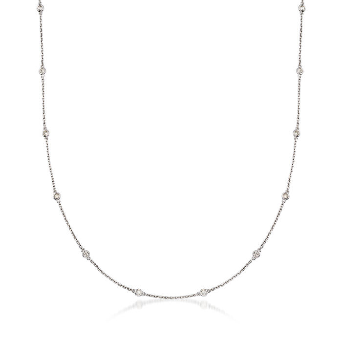 .50 ct. t.w. Bezel-Set Diamond Station Necklace in Sterling Silver