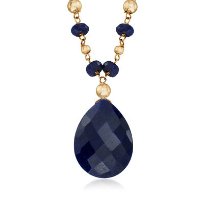 23.00 ct. t.w. Sapphire Station Necklace in 14kt Yellow Gold, , default