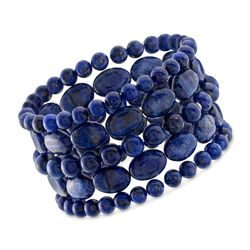 Lapis Jewelry Set: Five Bead Stretch Bracelets, , default