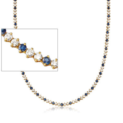 C. 1990 Vintage 8.00 ct. t.w. Diamond and 5.00 ct. t.w. Sapphire Tennis Necklace in 18kt Yellow Gold, , default