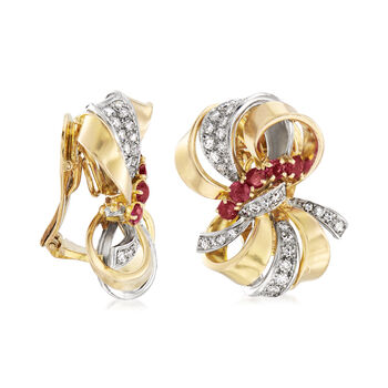 C. 1960 Vintage 1.50 ct. t.w. Ruby and 1.20 ct. t.w. Diamond Bow Clip-On Earrings in 18kt Yellow Gold, , default