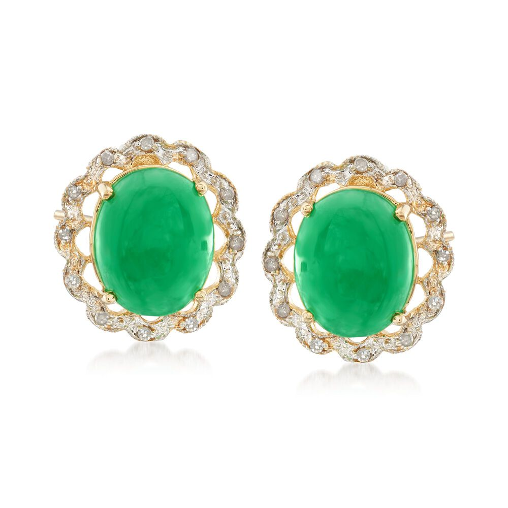 Oval Green Jade And Diamond Accented Earrings In 14kt Yellow Gold Default