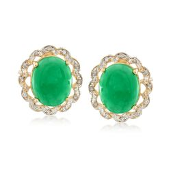 Oval Green Jade and Diamond-Accented Earrings in 14kt Yellow Gold, , default