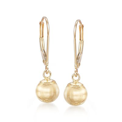 8mm 14kt Yellow Gold Shiny Bead Drop Earrings, , default