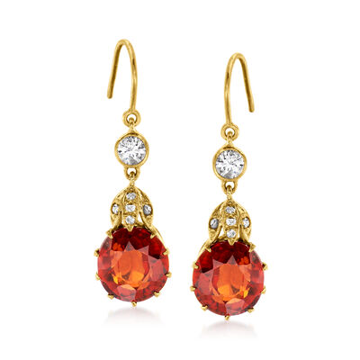 C. 1970 Vintage 7.00 ct. t.w. Garnet and .40 ct. t.w. Diamond Drop Earrings in 10kt Yellow Gold