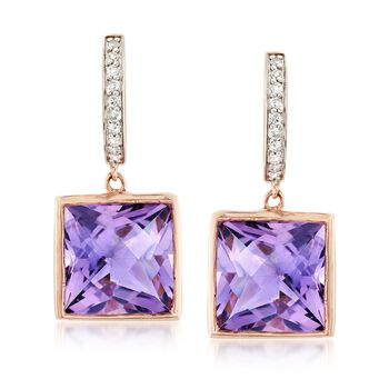 15.00 ct. t.w. Amethyst and .18 ct. t.w. Diamond Drop Earrings in 14kt Rose Gold, , default