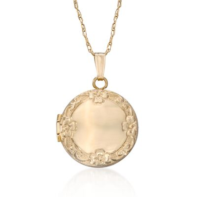 Child's 14kt Yellow Gold Floral Locket Necklace, , default