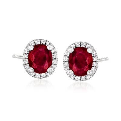 .80 ct. t.w. Ruby and .10 ct. t.w. Diamond Stud Earrings in 14kt White Gold, , default