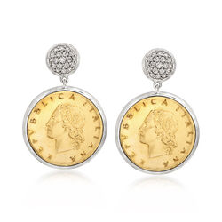 Italian Genuine 20-Lira Coin and .45 ct. t.w. CZ Drop Earrings in Sterling Silver, , default