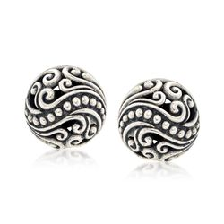 Balinese Sterling Silver Scroll Stud Earrings, , default