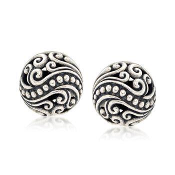 Balinese Sterling Silver Scroll Stud Earrings , , default