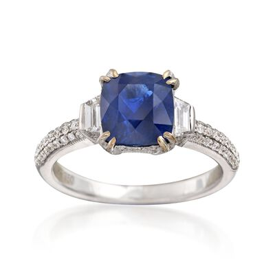 C. 2000 Vintage 2.68 Carat Sapphire and .80 ct. t.w. Diamond Ring in 18kt White Gold, , default