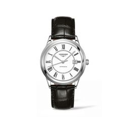Longines Flagship Men's 38.5mm Automatic Stainless Steel Watch With Black Leather - White Dial, , default