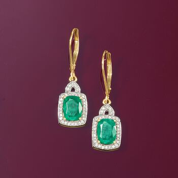 2.90 ct. t.w. Emerald and .26 ct. t.w. Diamond Drop Earrings in 14kt Yellow Gold, , default