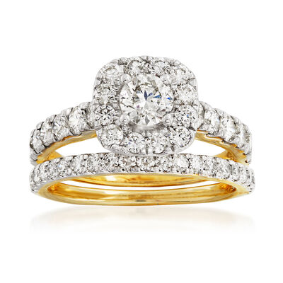 2.00 ct. t.w. Diamond Bridal Set: Engagement and Wedding Rings in 14kt Yellow Gold, , default
