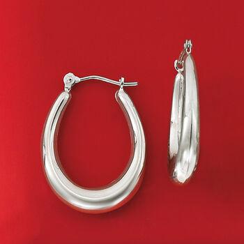 "Italian 14kt White Gold Oval Hoop Earrings. 7/8"""
