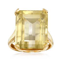 C. 1970 Vintage 15.00 Carat Lemon Quartz Ring in 14kt Yellow Gold. Size 7, , default