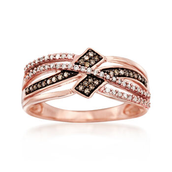 .25 ct. t.w. Champagne and White Diamond Crisscross Ring in 14kt Rose Gold, , default