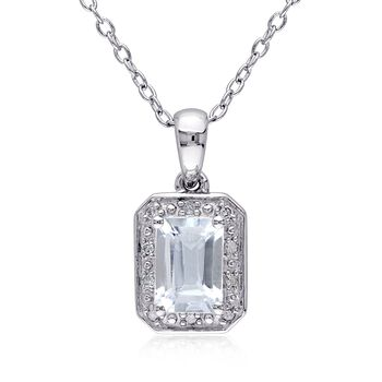 .90 Carat Aquamarine Pendant Necklace With Diamond Accents in Sterling Silver, , default