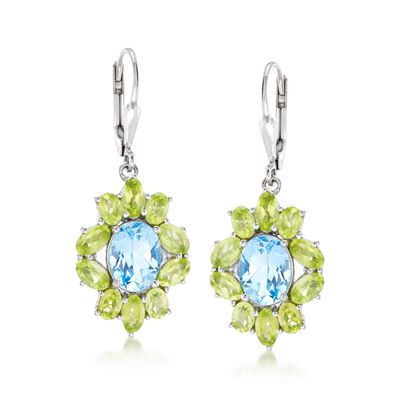 3.80 ct. t.w. Blue Topaz and 3.80 ct. t.w. Peridot Drop Earrings in Sterling Silver