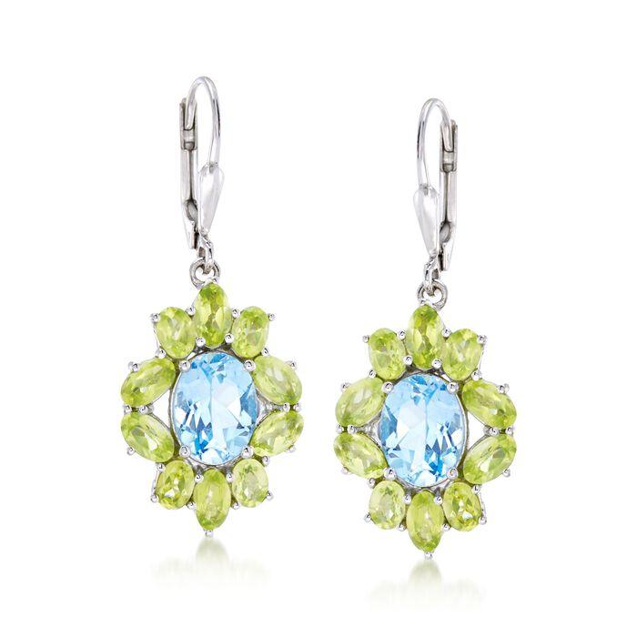 3.80 ct. t.w. Blue Topaz and 3.80 ct. t.w. Peridot Drop Earrings in Sterling Silver