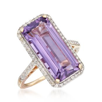 7.00 Carat Amethyst and .45 ct. t.w. Diamond Ring in 14kt Yellow Gold, , default