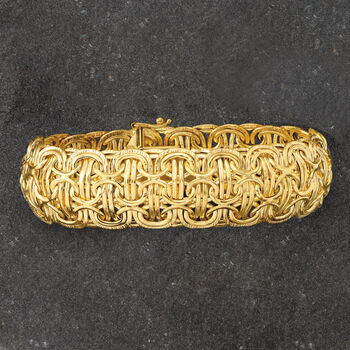 Italian 14kt Yellow Gold Domed Byzantine-Style Bracelet