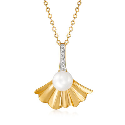 Cultured Pearl and Diamond-Accented Fan Pendant Necklace in 18kt Gold Over Sterling