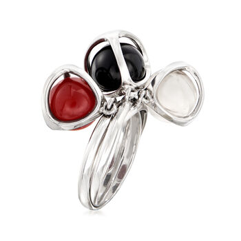 C. 1990 Vintage Di Modolo Multi-Gemstone Bead Ring in 18kt White Gold. Size 6.5