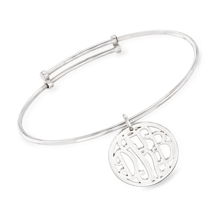 Sterling Silver Personalized Monogram Bangle Bracelet, , default