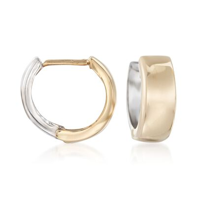 14kt Two-Tone Gold Reversible Huggie Hoop Earrings, , default