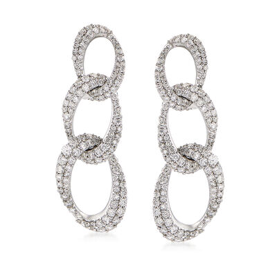 2.15 ct. t.w. Diamond Link Drop Earrings in 14kt White Gold, , default