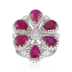 4.80 ct. t.w. Ruby and 1.20 ct. t.w. Diamond Floral Ring in 18kt White Gold, , default