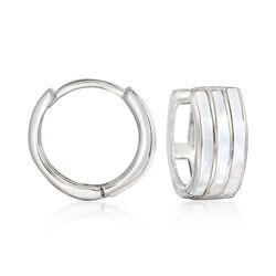 """Sterling Silver and White Enamel Huggie Hoop Earrings. 1/2"""", , default"""