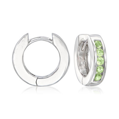 .80 ct. t.w. Peridot Huggie Hoop Earrings in Sterling Silver