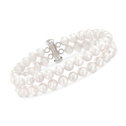 6-6.5mm Cultured Pearl Bracelet With Sterling Silver Clasp, , default