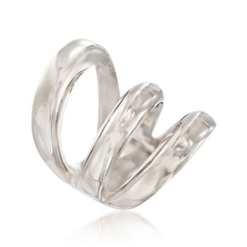 Italian Sterling Silver Three-Row Ring, , default